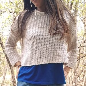 Moon & Madison Cropped Crochet Knit Sweater